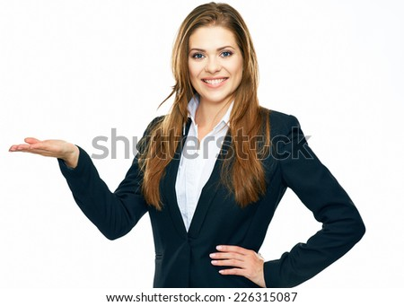 business woman showing copy space for product or advertising text . white background isolated. - stock photo
