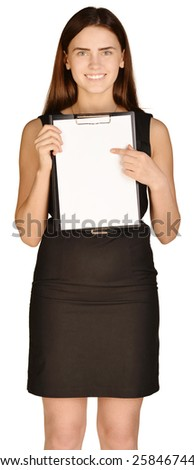 Business woman showing forefinger on clipboard. white background - stock photo