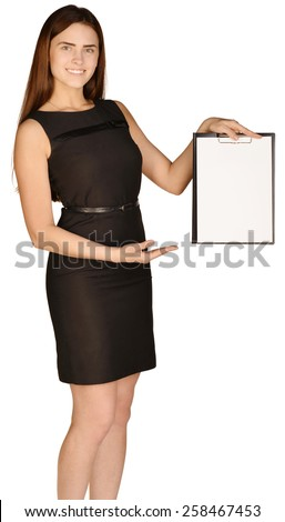 Business woman showing hand on clipboard. white background - stock photo