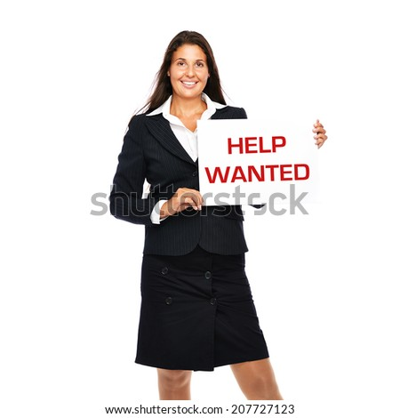Business woman showing help wanted sing in hands. Isolated on a white background.  - stock photo