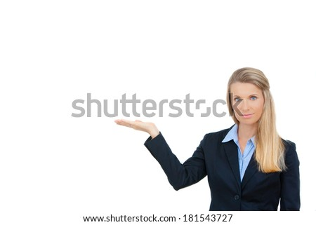 Business woman showing open hand showing blank space for advertisement. Isolated on white background. Copy space. - stock photo