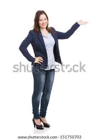 Business woman showing something with her left hand and looking to the camera, isolated over white - stock photo