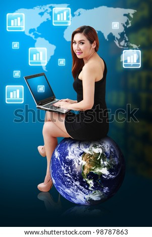 Business woman sit on earth and checking the Stock graph report : Elements of this image furnished by NASA - stock photo