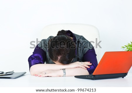Business woman sleeping - stock photo