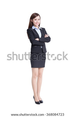 business woman smile to you in full length isolated on white background, asian beauty - stock photo