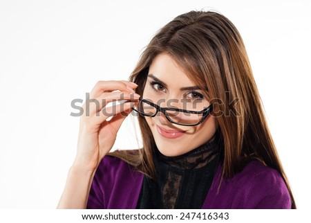 Business woman smiling against copy space background - stock photo