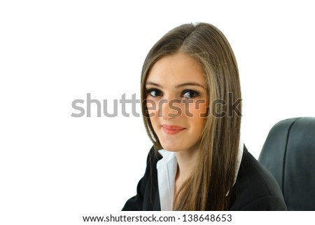 Business Woman Smiling at You - stock photo