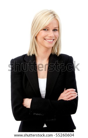 Business woman smiling isolated over a white background - stock photo