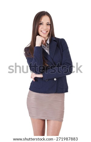 business woman smiling positive attitude - stock photo