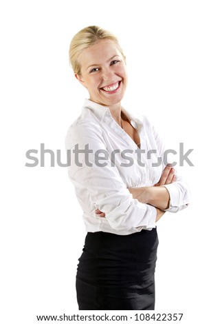 Business woman standing and smiling - stock photo