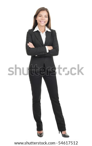Business woman standing in full length isolated on white background. Beautiful mixed race Chinese Asian-Caucasian young female mode in suit. - stock photo