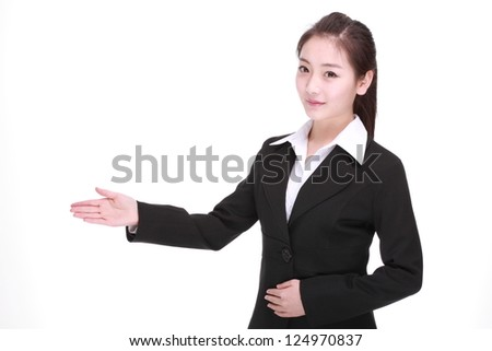 Business woman standing isolated white background - stock photo