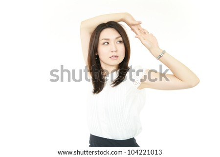 Business?woman stretching - stock photo
