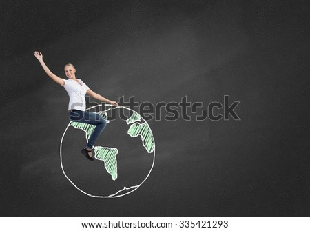 Business woman student or teacher sitting on drawn Earth planet - stock photo