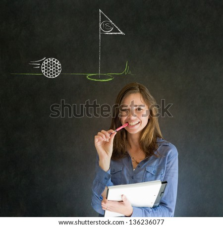 Business woman, student or teacher with thought thinking of golf chalk cloud on blackboard background - stock photo