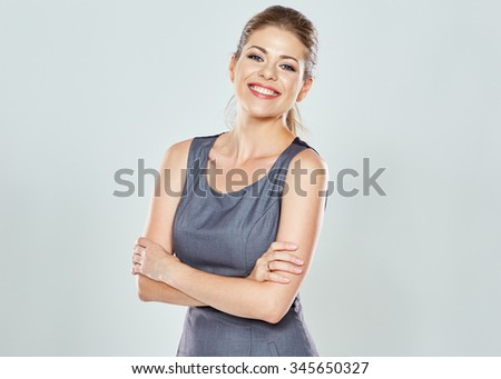 Business woman studio isolated portrait. Confident modern woman. Crossed arms. - stock photo