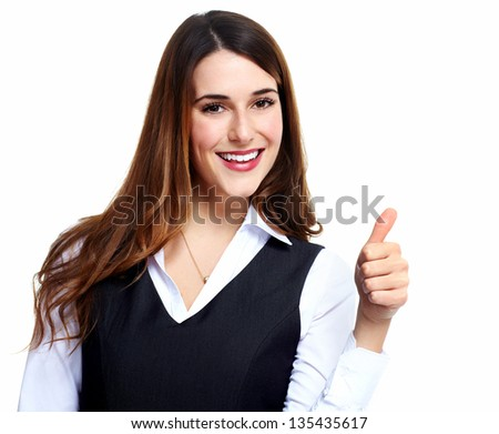 Business woman. Success. Isolated over white background. - stock photo