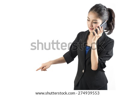 Business woman talking on a cell phone isolated on white background - stock photo