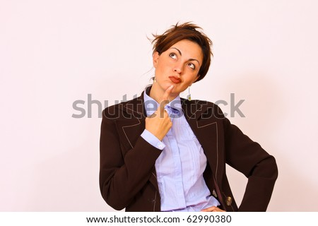 Business woman thinking facial expression - stock photo