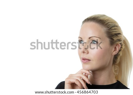 business woman thinking shot in the studio on white background - stock photo
