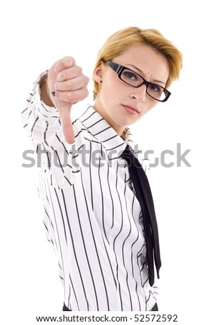 Business woman thumbs down isolated on white - stock photo