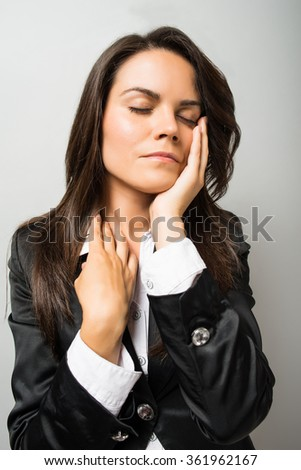 business woman toothache - stock photo