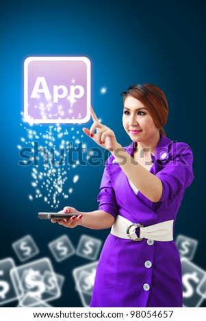 Business woman touch The Application icon from mobile phone - stock photo