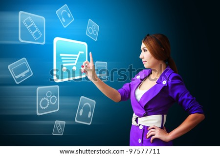 Business woman touch the Cart icon - stock photo