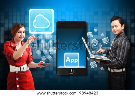 Business woman touch the Cloud icon from business man - stock photo