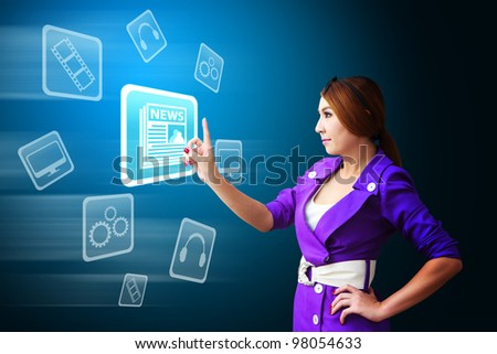 Business woman touch The News icon - stock photo