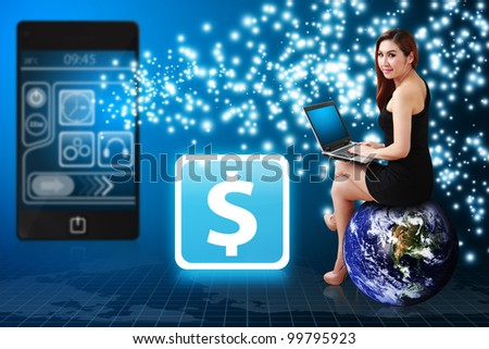 Business woman use notebook computer and Money icon from mobile phone : Elements of this image furnished by NASA - stock photo