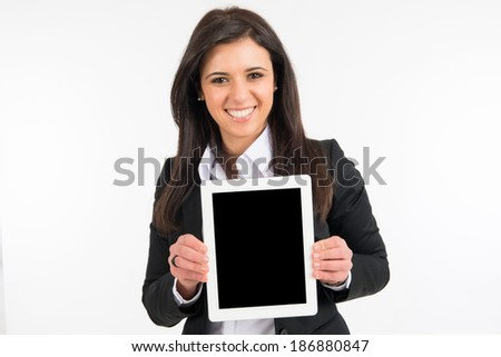Business woman using a digital tablet - Stock Image - stock photo