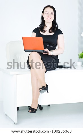 Business woman using laptop sitting on the table - stock photo