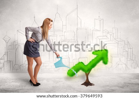 Business woman watering green plant arrow concept on background - stock photo