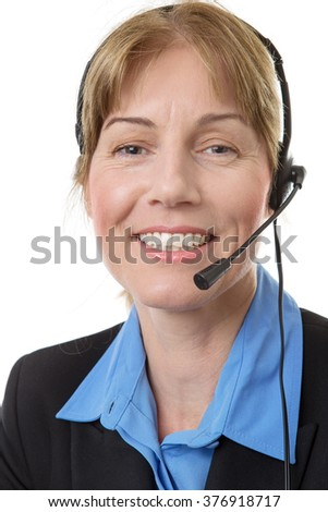 business woman wearing a headest ready to make a call isolated on white - stock photo