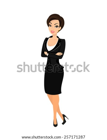 Business woman wearing black suit. Isolated on white - stock photo