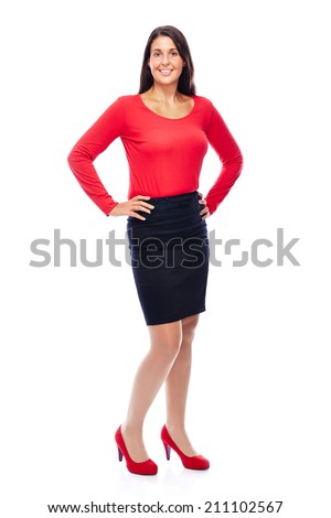Business woman wearing red portrait isolated on white background - stock photo