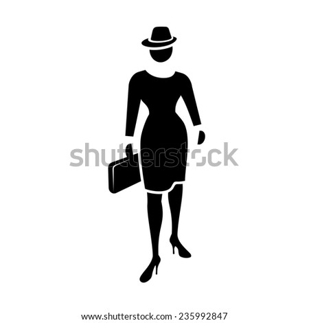 Business woman web icon. Lead symbol.  Black silhouette of fashion woman with bag and hat on white background.  - stock photo
