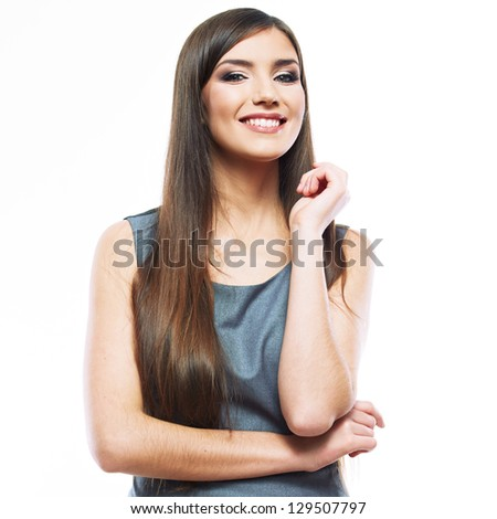 Business woman  white background isolated. female business model with long hair . smiling young business woman - stock photo
