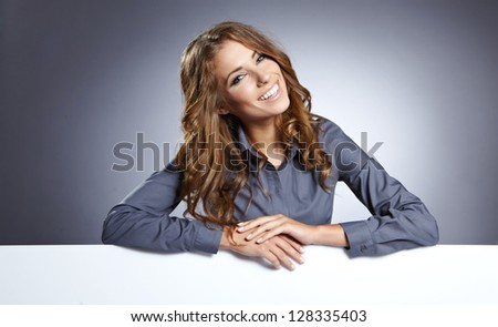 Business woman white isolated portrait, hold blank card. - stock photo