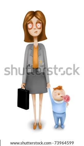 Business woman with a child - stock photo
