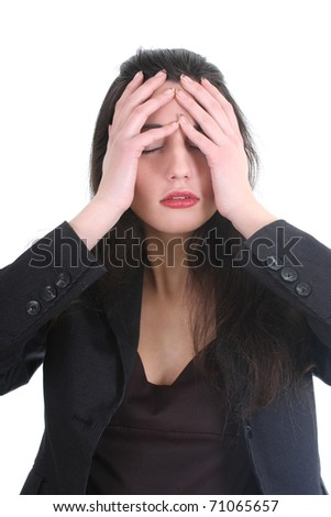 Business woman with a headache over white - stock photo