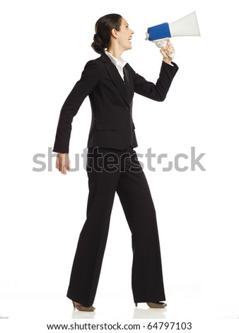 business woman with a megaphone no 2 - stock photo