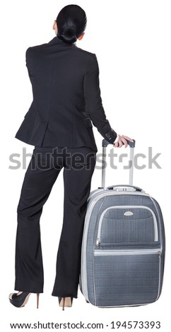 business woman with a suitcase, isolated white background - stock photo