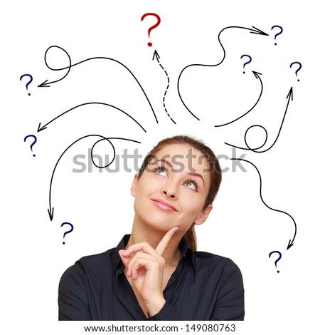 Business woman with arrows and questions sign above isolated on white background - stock photo