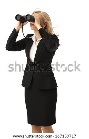 business woman with binoculars  - stock photo