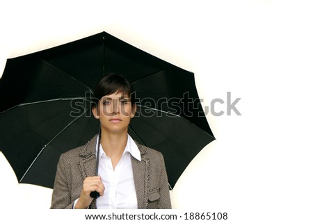 business woman with black umbrella and white copy-space - stock photo