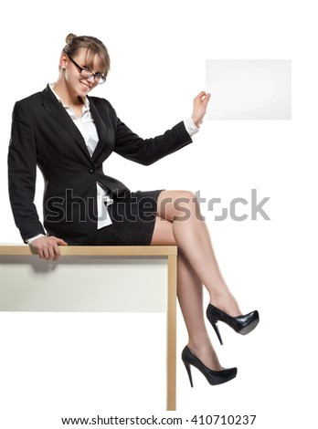 business woman with blank board. professionally retouched - stock photo