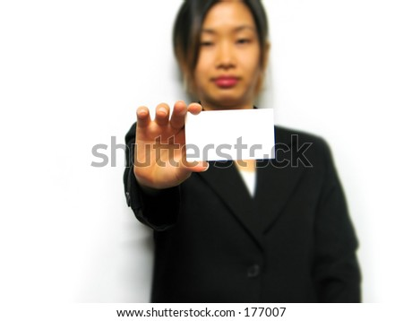 business woman with blank card - stock photo