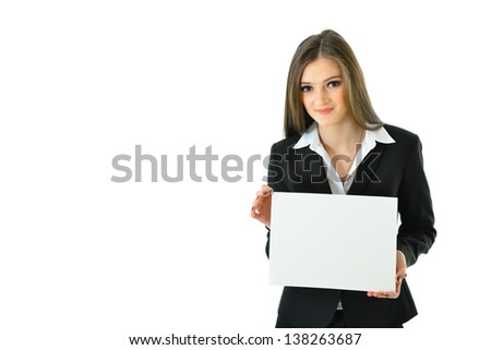 Business Woman with Blank Card with Copy Space (half view) - stock photo